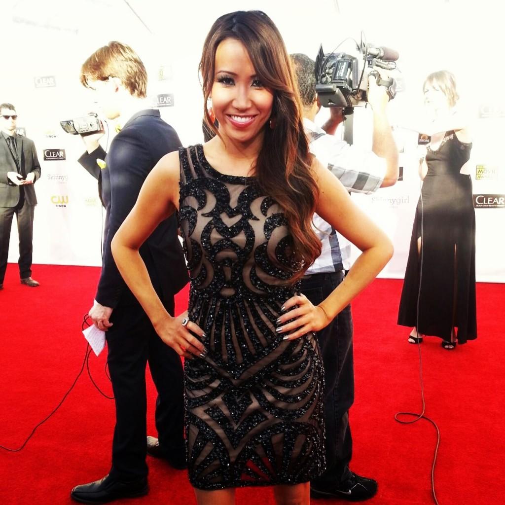 #MMSteez - Critic's Choice Awards (Celebuzz Correspondent): Dress: Aidan Mattox | Jewelry: Alberto Parada | Hair/Makeup: Liz Castellanos